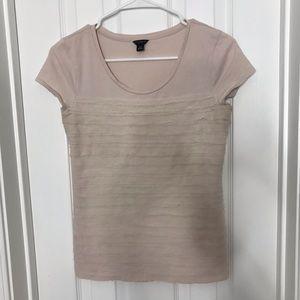 Ann Taylor Light Pink Ruffle Texture Blouse Shirt